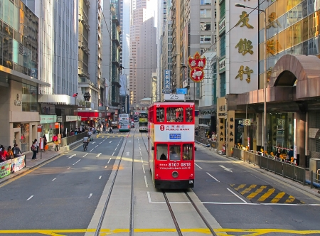 railroad transportation: HONG KONG - DECEMBER 05: Unidentified people using city tram in Hong Kong on December 05, 2010. Tram in Hong Kong is the only tram system in the world run with double deckers and one of the main tourist attractions. Editorial