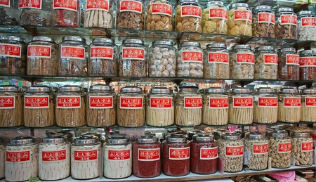 Traditional Chinese shop selling ingredients for food and medicine. Hong Kong. China. Editorial