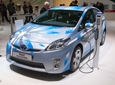 GENEVA - MARCH 8: The Toyota Prius Plug-in hybrid on display at the 81st International Motor Show Palexpo-Geneva on March 8; 2011  in Geneva, Switzerland.