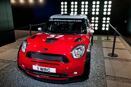 GENEVA - MARCH 8: The Mini Cooper WRC on display at the 81st International Motor Show Palexpo-Geneva on March 8; 2011  in Geneva, Switzerland.
