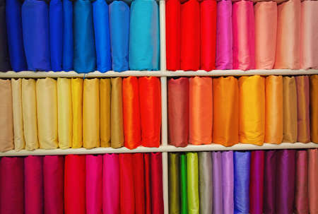Colorful samples of the thai silk in the shop Stock Photo - 12717768