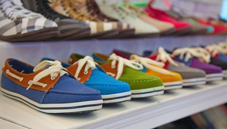 plimsoll: variety of the colorful leather shoes in the shop