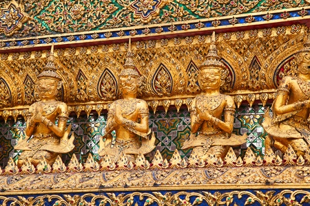 Elements of the decorations of the Grand Palace and Temple of Emerald Buddha in Bangkok, Thailand photo