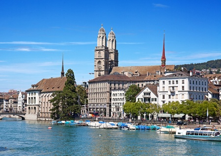 Limmat river and famous Zurich churches Editorial