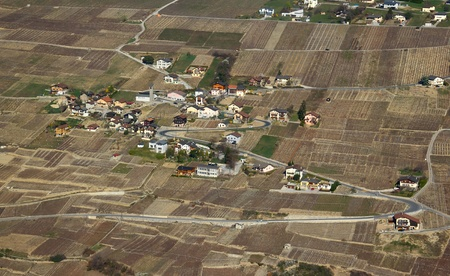 aerial view over the private houses photo
