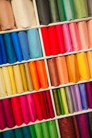 Colorful samples of the thai silk in the shop Stock Photo - 13198830