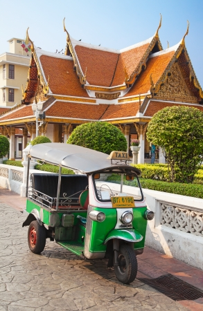 Famous Bangkok motorcycle taxi called tuk-tuk