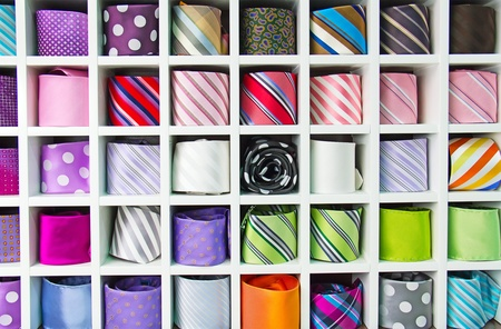 Colorful tie collection in the mens shop photo