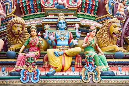 hindu temple: Fragment of decorations of the Hindu temple Sri Mariamman in Singapore