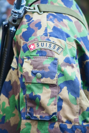 camoflauge: Close-up of the swiss army uniform