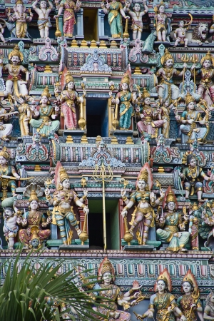 hindu god shiva: Fragment of decorations of the Hindu temple Sri Mariamman in Singapore