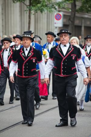 ZURICH - AUGUST 1: Swiss National Day parade on August 1, 2009 in Zurich, Switzerland. Representative of canton Appenzeller in a historical costume. Stock Photo - 13795568