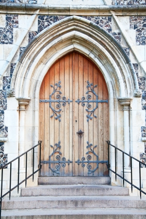large doors: Old massive church door of the catholic church