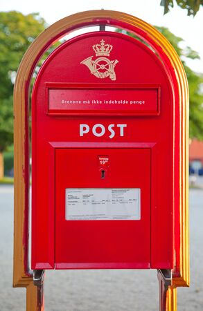Classical post box in Copenhagen, Denmark photo