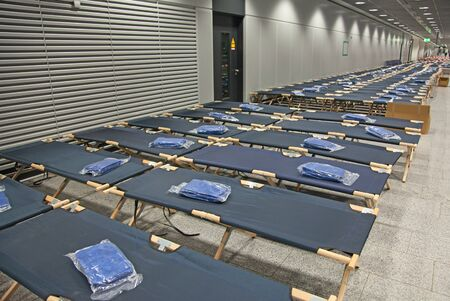 temporary: Temporary beds in the airport closed due to the strike Stock Photo