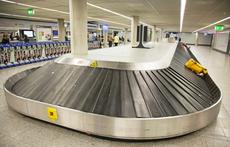 Empty baggage belt in the modern airport