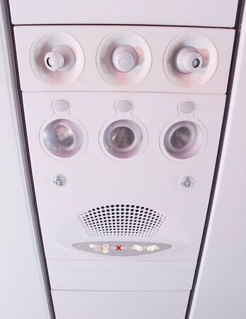 Overhead console in the modern passenger aircraft photo