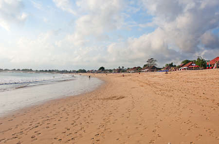 Balinese Jimbaran beach famous for its perfect sea food restaurants photo