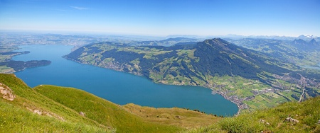 Panoramic view from the top of the Rigi mountain photo