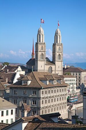 Famous double-headed Grossmunster cathedral in Zurich, Switzerland