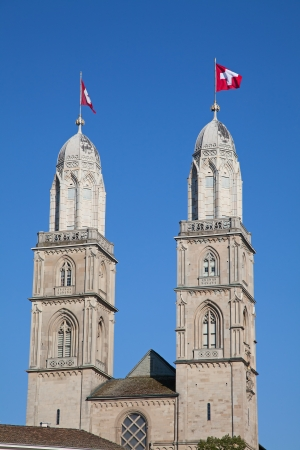 doubleheaded: Famous double-headed Grossmunster cathedral in Zurich, Switzerland
