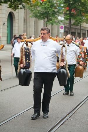 appenzeller: ZURICH - AUGUST 1: Swiss National Day parade on August 1, 2009 in Zurich, Switzerland. Representative of canton Appenzeller in a historical costume. Editorial