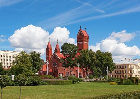 baroque gate: Famous Red Chapel in Minsk, Republic of Belarus Stock Photo