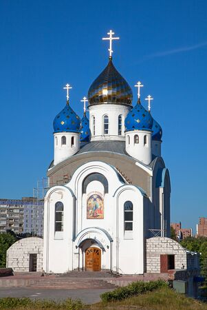 baroque gate: Small church in local district of Minsk, Republic of Belarus