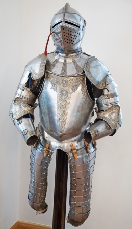 shiny suit: Knights armour in the medieval castle
