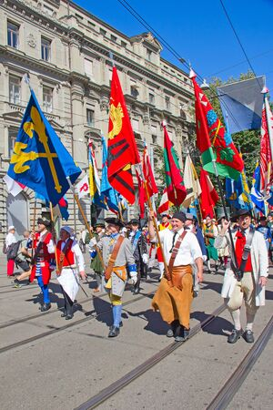 ZURICH - AUGUST 1: Swiss National Day parade on August 1, 2009 in Zurich, Switzerland. Representatives of professional guildes in a historical costume. Stock Photo - 14685812