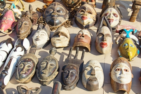 African masks on the traditional market photo