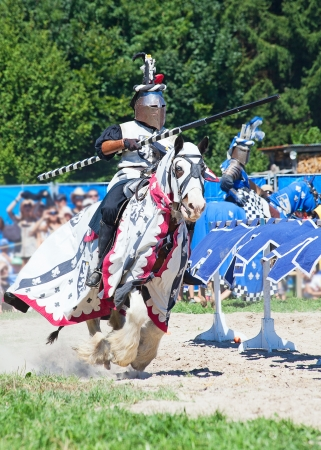 middle age man: Knight in the historical costume on the horseback