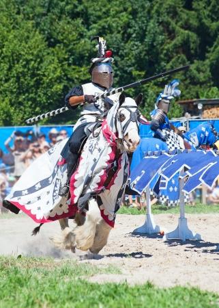 Ritter im historischen Kostüm auf dem Pferderücken Standard-Bild - 14956265
