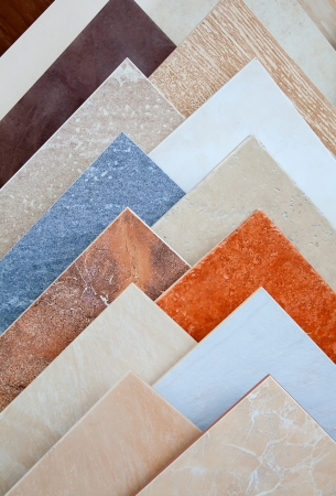Samples of a ceramic tile in shop photo