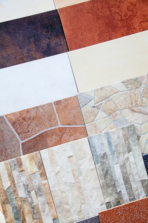 Samples of a ceramic tile in shop