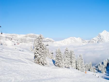 Pente sur la station de ski Flumserberg. Suisse Banque d'images