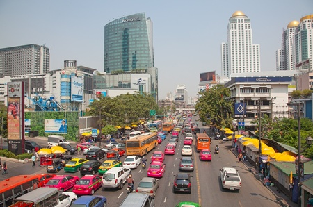 standstill: BANGKOK - MARCH 3: Daily traffic jam in the afternoon on March 3, 2012 in Bangkok, Thailand. Traffic jams remains constant problem in Bangkok despite rapid development of public transportation system. Editorial