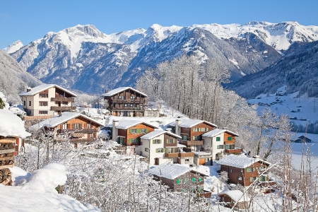 Typical swiss winter season landscape. January 2011, Switzerland. Stock Photo