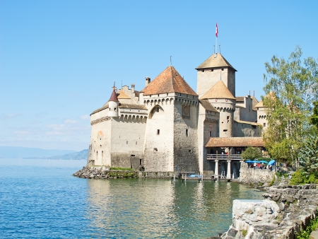 convict lake: Chillon castle, Geneva lake  Lac Leman , Switzerland Editorial