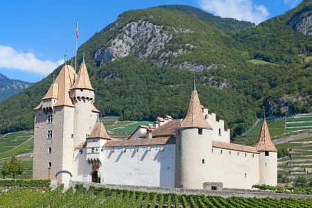 Famous castle Chateau dAigle in canton Vaud, Switzerland Editorial