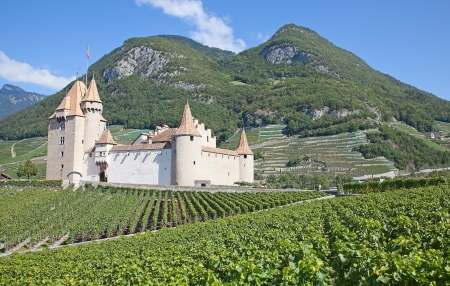 Famous castle Chateau dAigle in canton Vaud, Switzerland Редакционное