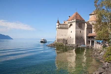 convict lake: Chillon castle, Geneva lake (Lac Leman), Switzerland Editorial