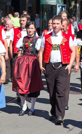 ZURICH - AUGUST 1: Representatives of cantone Appenzeller participating in the Swiss National Day parade on August 1, 2009 in Zurich, Switzerland. Stock Photo - 15669496
