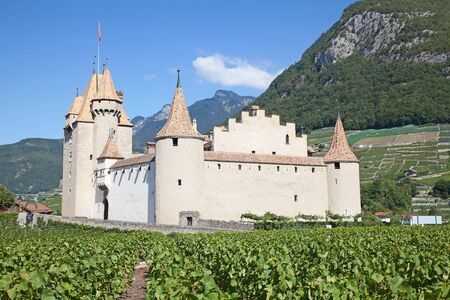 Famous castle Chateau d'Aigle in canton Vaud, Switzerland