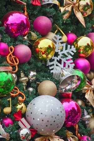 christmas sphere: Fragment of the Christmas tree decoration Stock Photo