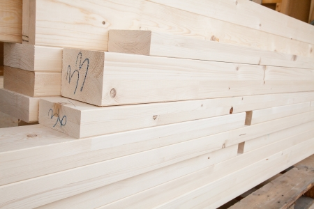 Stack of new wooden studs at the lumber yard Stock Photo - 15803041
