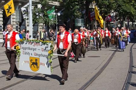 appenzeller: ZURICH - AUGUST 1: Swiss National Day parade on August 1, 2012 in Zurich, Switzerland. Representative of Toggenburg (canton Appenzeller) in a historical costume.
