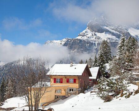 Typical swiss winter season landscape. January 2011, Switzerland. Stock Photo - 15877352