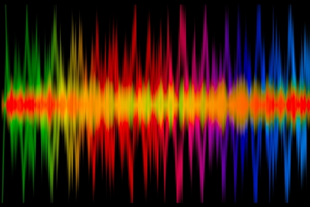 frequencies: Colorful Music Graph on the black Stock Photo