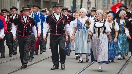 appenzeller: ZURICH - AUGUST 1: Swiss National Day parade on August 1, 2011 in Zurich, Switzerland. Representatives of canton Appenzeller in a historical costumes.